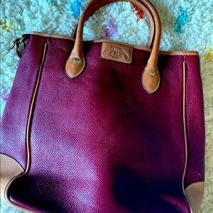 Leather Purse Handbag Vintage 12X14 Red And Tan